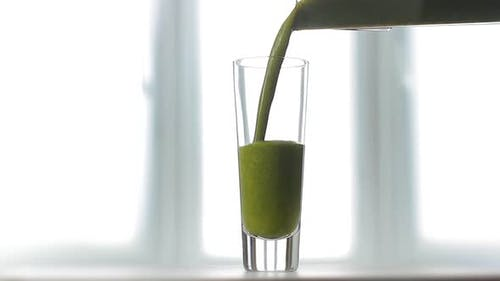 Celery Fresh Juice Poured Into Glass