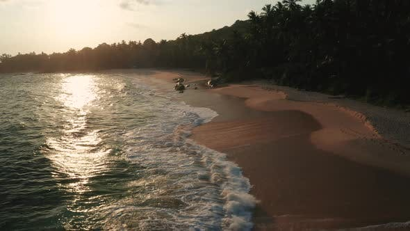 Thumbnail for Aerial View of the Sandy Beach During Sunset on the Southern Part of Sri Lanka Island.