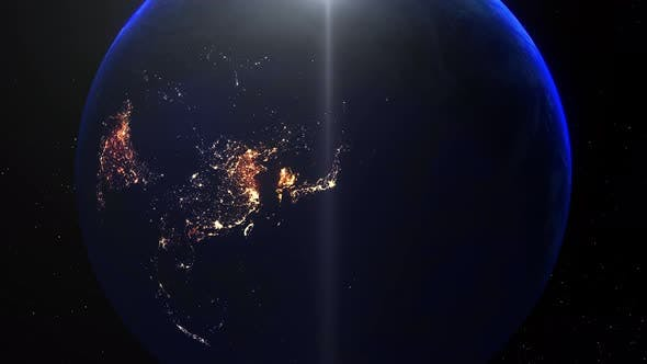 Thumbnail for Realistic Earth Night Zoom Out Clouds Japan Tokyo