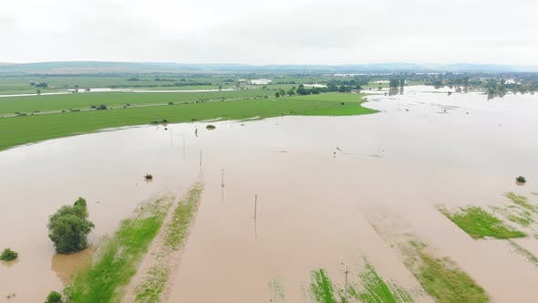 Aerial View River That Overflowed After Heavy Rains and Flooded Agricultural Fields