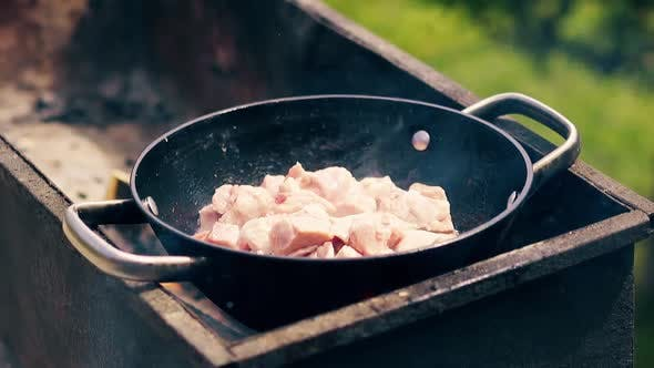 Close-up, Slow Motion: Pork Meat Is Fried in a Saucepan on Charcoal. On the Grill