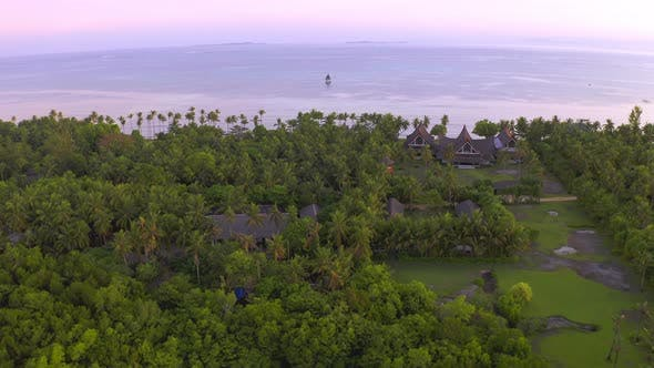 Thumbnail for Aerial Sea View Luxury Villa with Palm Trees