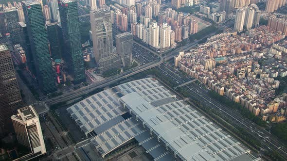 Thumbnail for Shenzhen Central Business District Aerial Skyline Panorama Timelapse Pan Up