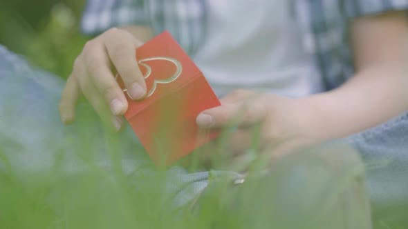Thumbnail for The Boy Holding a Small Red Box and Opening It, Preparing Present To the Girl, Sitting Outdoors on