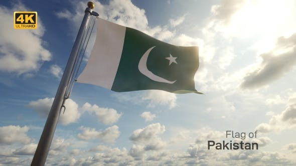 Pakistan Flag on a Flagpole - 4K
