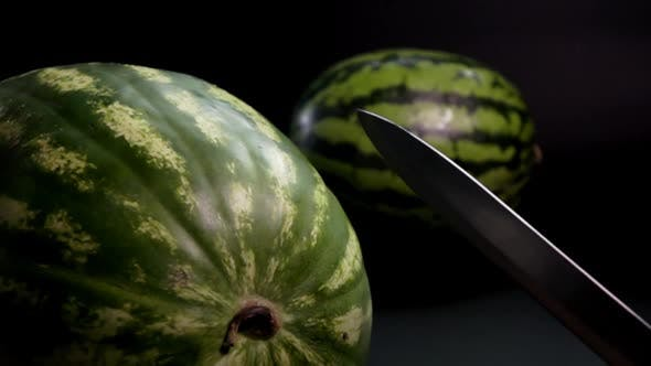 Thumbnail for Watermelon with Knife and Black Background