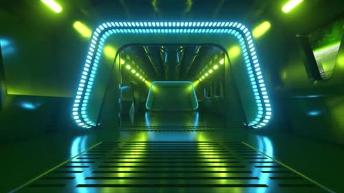 Scifi Tunnel in Outer Space with Neon Light