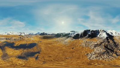 VR360 View on Snowy Tops and Valley in Summer Himalaya Mountains