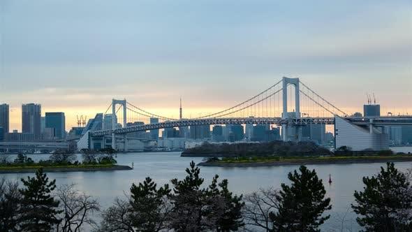 Thumbnail for Sumida River Transport Bridge at Sunset Timelapse