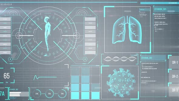Thumbnail for Animation of the human body analyzed on a screen, lungs and heart beat analyzed, medical information