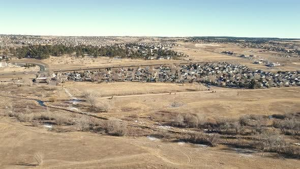 Thumbnail for Aerial view of suburban park in Parker, Colorado.