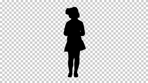 Thumbnail for Silhouette Cute little girl looks in smartphone and writing