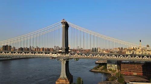Aerial View of Lower Manhattan New York Over Manhattan Bridge