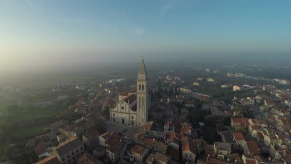 Aerial view of Vodnjan in the morning - product preview 0