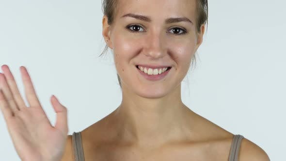 Thumbnail for Waving Hand, Hello, Close up of Welcoming Girl, White Background