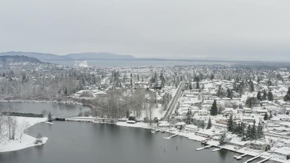 Thumbnail for Bellingham Washington Lake Whatcom Snowy Winter Day Aerial Landscape