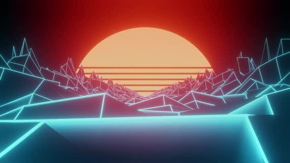 80s Style Sunset Graphics Loop