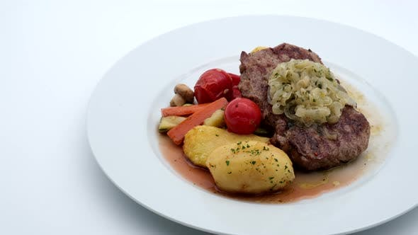 Thumbnail for Delicious Restaurant Food Beef With Potatoes and Sauce