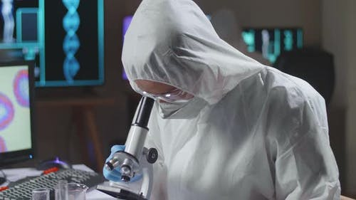 Doctor Is Doing A Science Experiments And Developing Vaccine In A Modern Laboratory