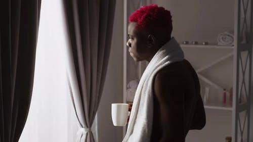 Good Morning Hipster Black Man Refreshing Coffee