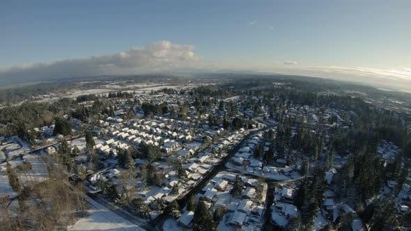 Thumbnail for Rural Residential Neighborhoods Covered In Winter Snow Aerial