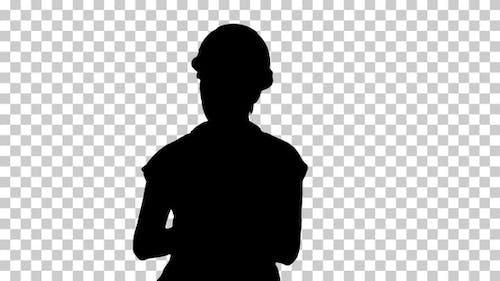 Silhouette  Female explaining , Alpha Channel