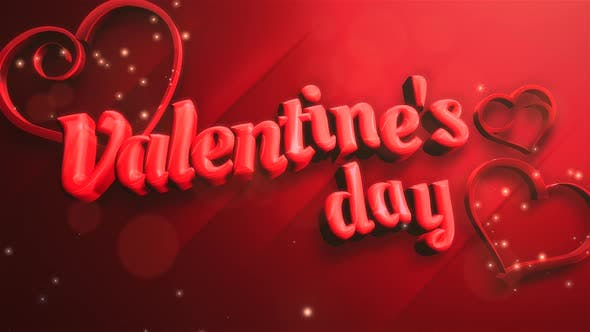 Thumbnail for Animated closeup Valentine Day text and motion romantic heart on Valentine day shiny background