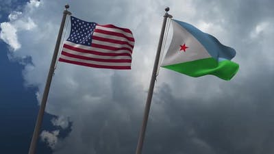 Waving Flags Of The United States And The Djibouti 4K