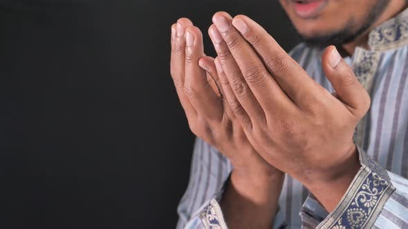 Thumbnail for Muslim Man Praying During Ramadan, Close Up