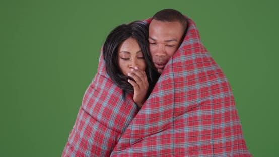 Thumbnail for Schwarzes Paar eingewickelt in Schlafsack während Camping auf grünem Bildschirm