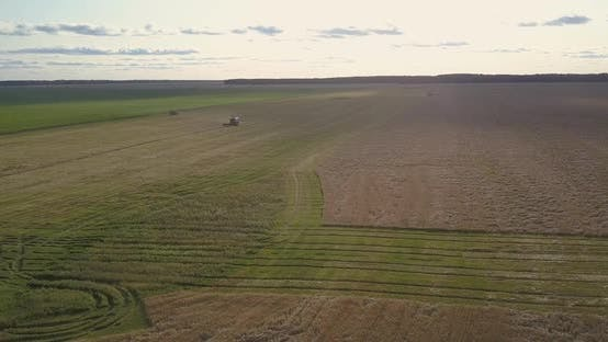 Thumbnail for Aerial Landscape with Agricultural Machines at Harvesting