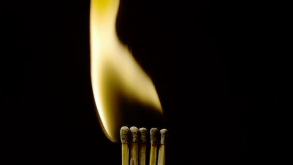 Thumbnail for Five burning matches, Ultra Slow Motion