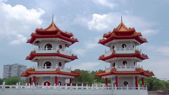 Cover Image for Twin Pagoda in Singapore and Clouds