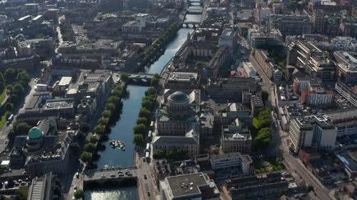 Aerial View of Historic Buildings with Domes on Riverbanks