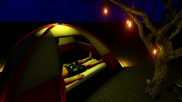 Thumbnail for Man Sleeping in Tent at Night