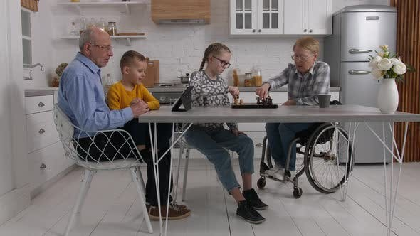 Grandchildren and Grandparents During Home Leisure