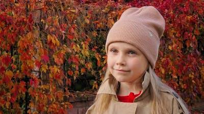 Portrait Child in a Hat Autumn