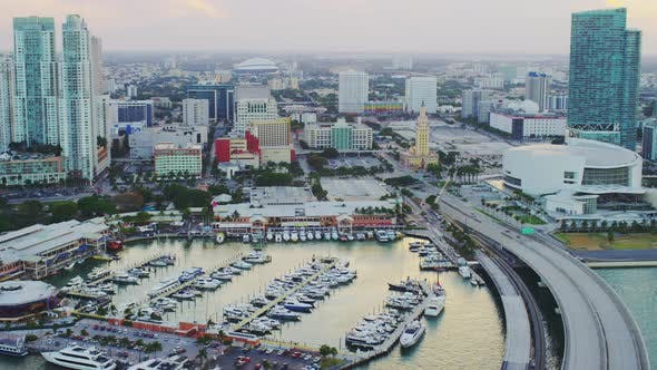 Aerial view of a marina in Miami