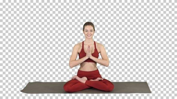 Thumbnail for Smiling Woman Yoga Meditating Sitting Lotus Hands Coupled