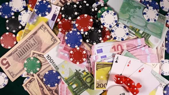 Cover Image for Gambling Money Chips Poker Cards And Red Dices