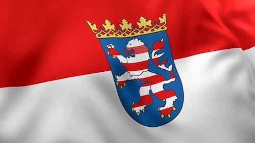 Drapeau de la Hesse avec emblème