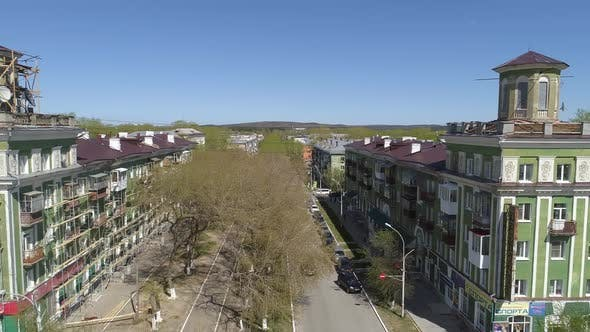 Thumbnail for Aerial view of the old four-story houses in a provincial town