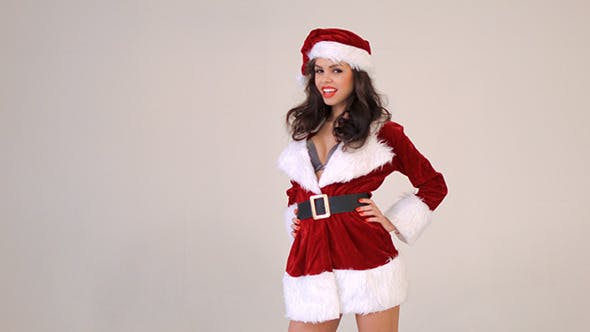 Thumbnail for Sexy Girl In Santa Claus Costume Posing