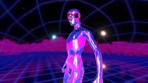 Retrofuturistic metal human figure with a grid laser landscape