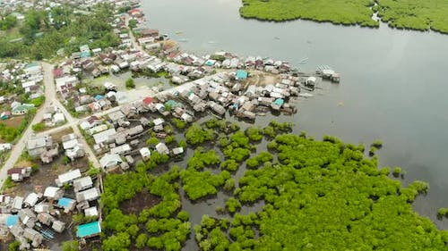 Aerial View The Town Is in Mangroves. Siargao, Philippines