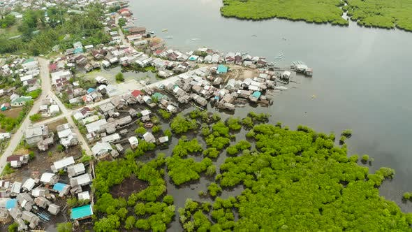 Thumbnail for Aerial View The Town Is in Mangroves. Siargao, Philippines