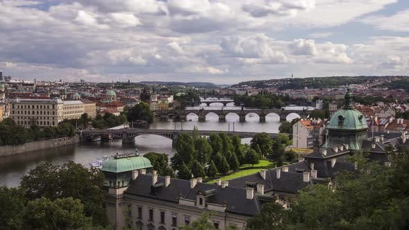Thumbnail for Prague View, Bridges Over Vltava River, Straka Academy and Gardens on the Foreground, Czech Republic