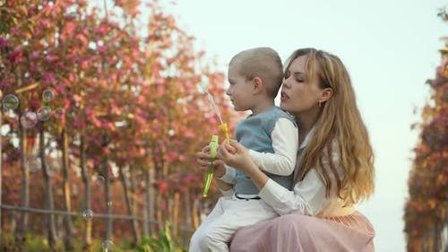 Fun Leisure of Mother with Son