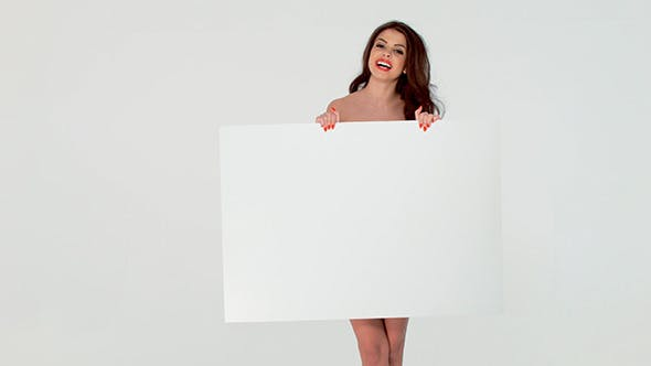 Thumbnail for Beautiful Girl Posing With Blank White Board