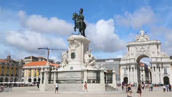 Statue of King Joseph I Against Arch of August Street at Commerce Square, Lisbon